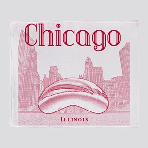 Chicago_10x10_ChicagoBeanSkylineV1_R Throw Blanket